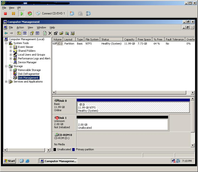 This is my test VM machine. It is having one disk at beginning.